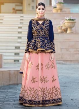 Navy Blue and Pink Banglori Silk Designer Long Choli Lehenga For Festival