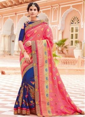 Navy Blue and Pink Half N Half Trendy Saree