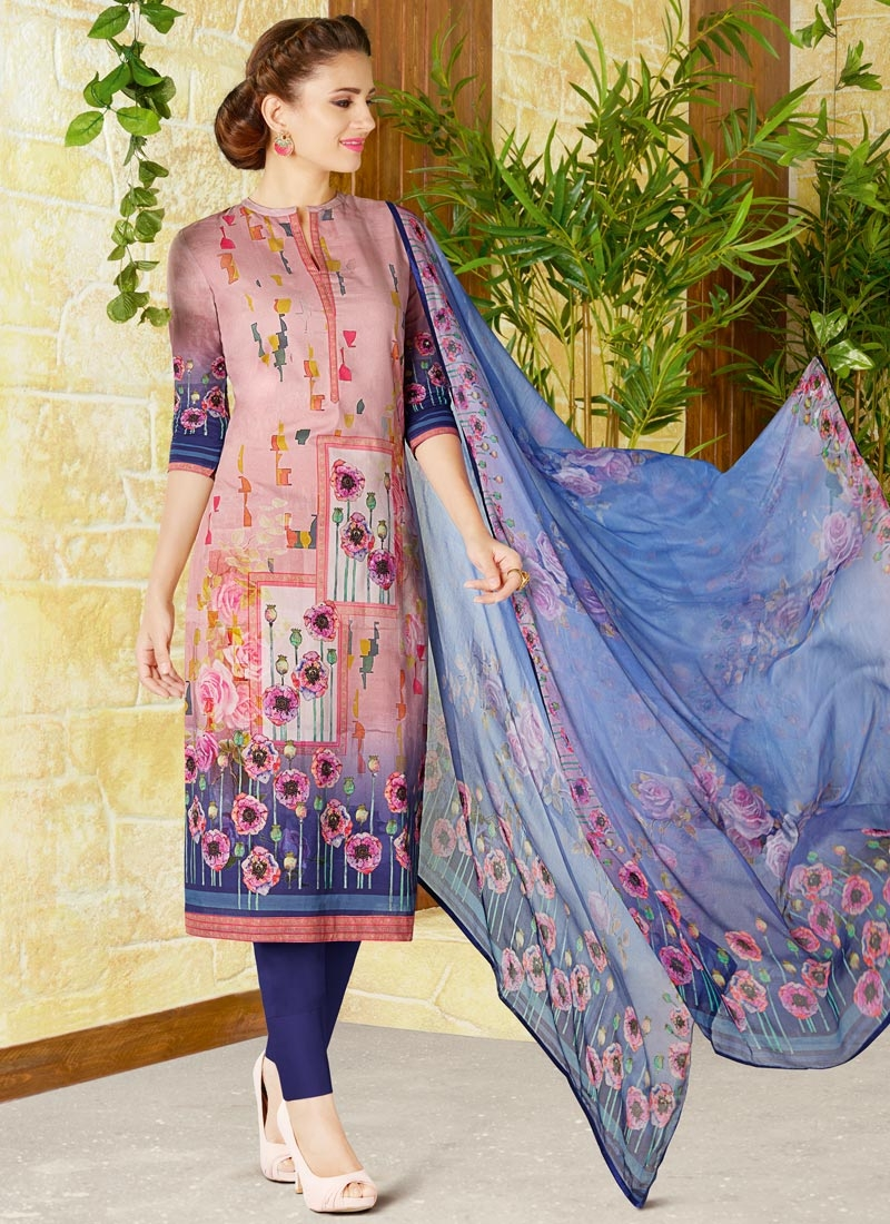 8a929bf69d Buy Navy Blue and Pink Print Work Pant Style Pakistani Salwar Suit ...