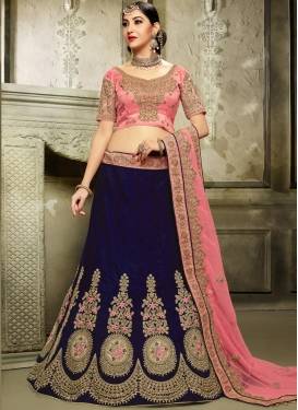 Navy Blue and Pink Silk A - Line Lehenga