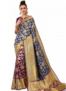 Navy Blue and Purple Banarasi Silk Designer Half N Half Saree