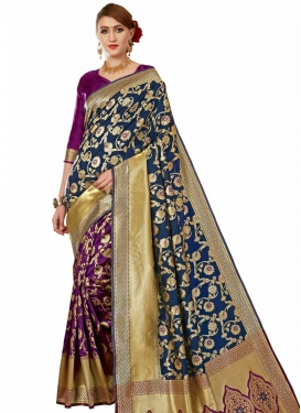 Navy Blue and Purple Designer Half N Half Saree