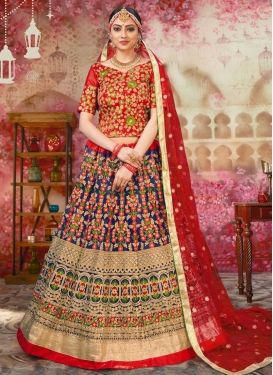 Navy Blue and Red  Art Silk A Line Lehenga Choli