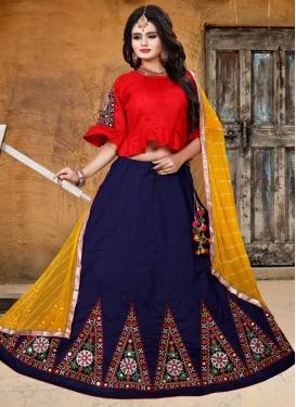 Navy Blue and Red Art Silk Designer Lehenga Choli