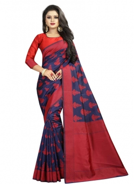 Navy Blue and Red  Banarasi Silk Contemporary Style Saree