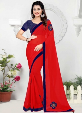 Navy Blue and Red Beads Work Classic Saree