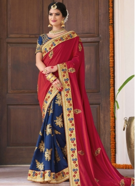 Navy Blue and Red Beads Work Half N Half Trendy Saree