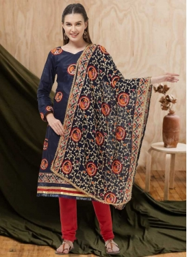 Navy Blue and Red Churidar Suit