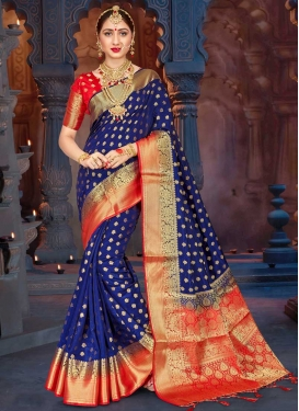 Navy Blue and Red Classic Saree