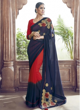 Navy Blue and Red Classic Saree For Casual