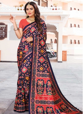 Navy Blue and Red Classic Saree For Ceremonial