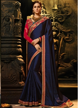 Navy Blue and Red Contemporary Style Saree For Ceremonial