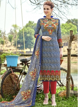 Navy Blue and Red Cotton  Pant Style Salwar Kameez