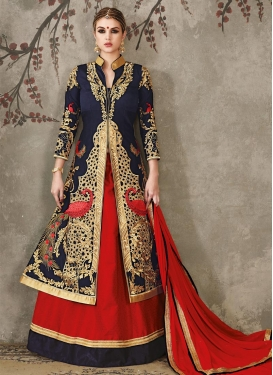 Navy Blue and Red Designer Long Choli Lehenga For Festival