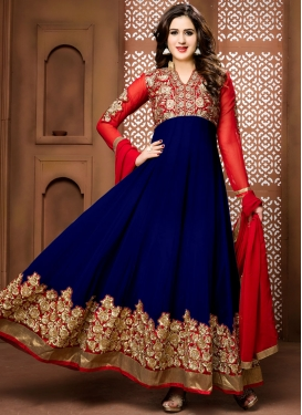 Navy Blue and Red Embroidered Work Ankle Length Anarkali Salwar Suit