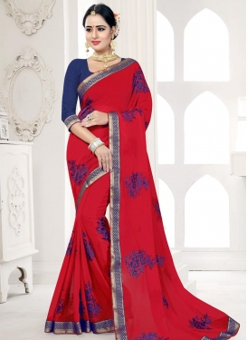Navy Blue and Red Embroidered Work Contemporary Style Saree
