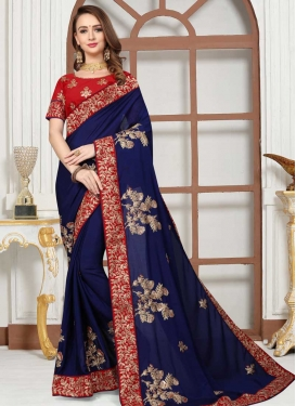 Navy Blue and Red Embroidered Work Designer Contemporary Saree