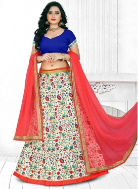 Navy Blue and Red Embroidered Work Trendy A Line Lehenga Choli