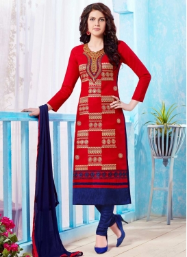 Navy Blue and Red Embroidered Work Trendy Churidar Suit