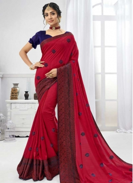 Navy Blue and Red Embroidered Work Trendy Saree