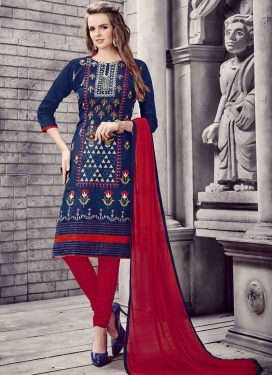 Navy Blue and Red Embroidered Work Trendy Straight Salwar Suit