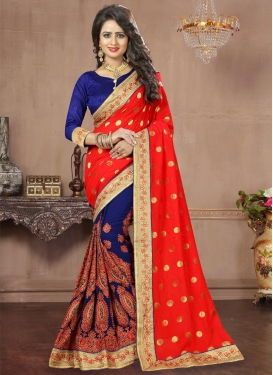 Navy Blue and Red Faux Georgette Half N Half Trendy Saree
