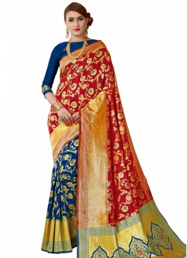 Navy Blue and Red Half N Half Trendy Saree