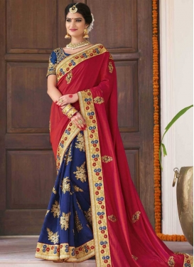 Navy Blue and Red Half N Half Trendy Saree For Festival
