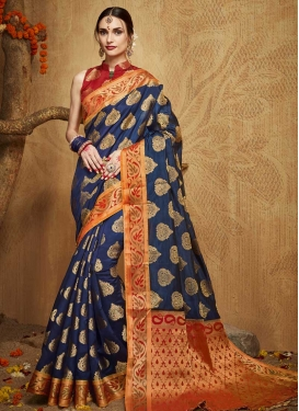 Navy Blue and Red Kanjivaram Silk Traditional Designer Saree