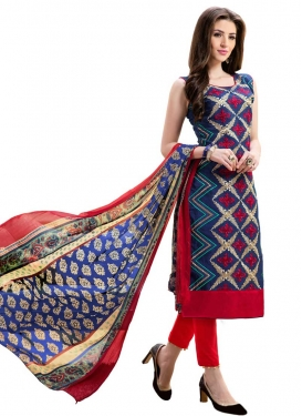 Navy Blue and Red Pant Style Classic Salwar Suit For Casual