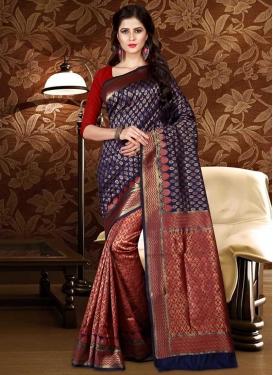 Navy Blue and Red Patola Silk Half N Half Trendy Saree