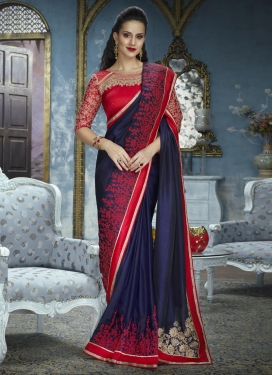 Navy Blue and Red Satin Silk Trendy Classic Saree