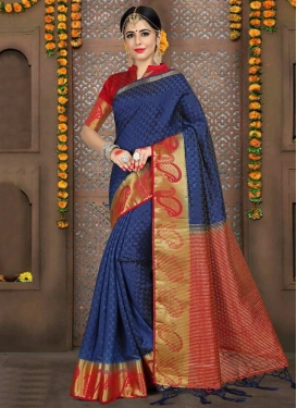 Navy Blue and Red Thread Work Classic Saree