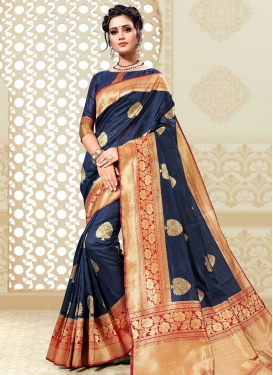 Navy Blue and Red Thread Work Designer Contemporary Style Saree