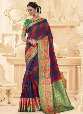 Navy Blue and Red Thread Work Designer Traditional Saree