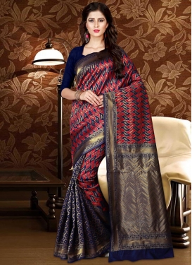 Navy Blue and Red Thread Work Trendy Saree