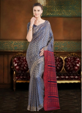 Navy Blue and Red  Traditional Saree