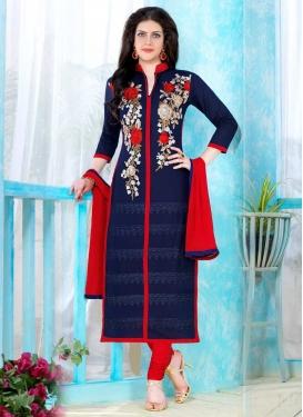 Navy Blue and Red Trendy Churidar Salwar Kameez