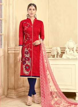 Navy Blue and Red Trendy Churidar Salwar Suit