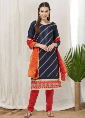 Navy Blue and Red Trendy Churidar Salwar Suit For Casual