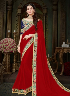 Navy Blue and Red Trendy Saree