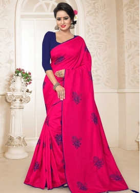 Navy Blue and Rose Pink Art Silk Contemporary Style Saree