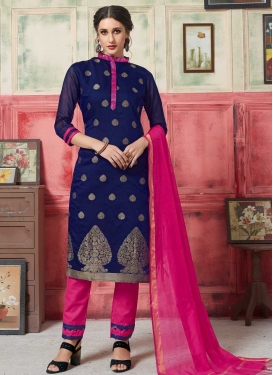 Navy Blue and Rose Pink Art Silk Pant Style Classic Salwar Suit