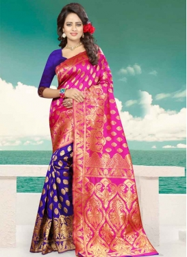 Navy Blue and Rose Pink Banarasi Silk Half N Half Saree