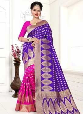 Navy Blue and Rose Pink Banarasi Silk Half N Half Trendy Saree