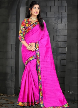 Navy Blue and Rose Pink Bhagalpuri Silk Traditional Saree