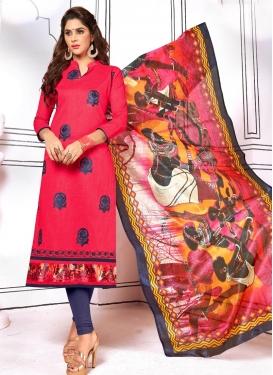 Navy Blue and Rose Pink Booti Work Trendy Churidar Salwar Suit
