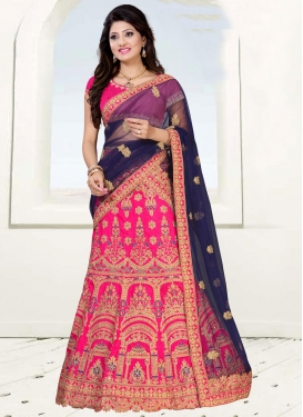 Navy Blue and Rose Pink Booti Work Trendy Lehenga Choli