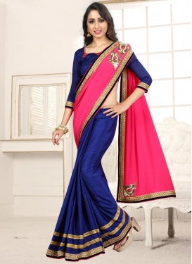 Navy Blue and Rose Pink Chiffon Satin Designer Half N Half Saree