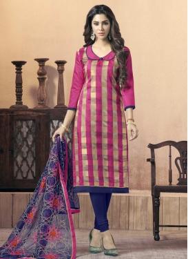 Navy Blue and Rose Pink Churidar Salwar Kameez